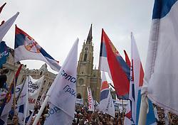08.04.2016, Novi Sad, SRB, Wahlkampf in Serbien, Vucic, im Bild der aktuelle Premier Serbiens, Aleksandar Vucic bei einer Wahlveranstaltung der Regierungskoalition unter Führung der serbischen Fortschrittspartei (SNS) // SNS leader and current Serbian Prime Minister Aleksandar Vucic at an election rally of the ruling coalition led by the Serbian Progressive Party (SNS) at Novi Sad, Serbia on 2016/04/08. EXPA Pictures © 2016, PhotoCredit: EXPA/ Pixsell/ Srdjan Ilic<br /> <br /> *****ATTENTION - for AUT, SLO, SUI, SWE, ITA, FRA only*****