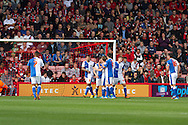 Blackburn Rovers players celebrate Leon Best's goal (number 9) making it 3-0 against AFC Bournemouth during the Skybet Championship match AFC Bournemouth v Blackburn Rovers at The Goldsands Stadium in Bournemouth, England on Saturday 28th September 2013. Picture by Sophie Elbourn/Andrew Orchard Sports Photography.