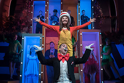 """© Licensed to London News Pictures. 23/11/2018. LONDON, UK. Mark Pickering as Cat in the Hat and Anna Barnes as JoJo and the cast perform during the photocall for Immersion Theatre's performance of """"Seussical the Musical"""" at Southwark Playhouse.  Shows take place 22 November to 29 December 2018.  Directed by James Tobias, the fantastical world of Dr. Seuss is brought to life in a musical co-conceived by Monty Python's Eric Idle.  Photo credit: Stephen Chung/LNP"""