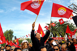 November 22, 2018 - Bardo, Tunisia - Thousands of UGTT supporters flock to the planned rally in front of the Assembly of People's Representatives (ARP), while an impressive security deployment was present in Bardo Square, according to UGTT sources the strike participation rate currently exceeds 90% in central, regional and local ministries and departments across the country. (Credit Image: © Chokri Mahjoub/ZUMA Wire)