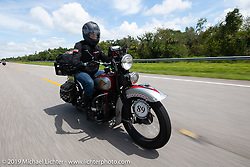 Cris Sommer-Simmons riding her 1934 Harley-Davidson VD in the Cross Country Chase motorcycle endurance run from Sault Sainte Marie, MI to Key West, FL. (for vintage bikes from 1930-1948). Stage-9 covered 259 miles from Lakeland, FL to Miami, FL USA. Saturday, September 14, 2019. Photography ©2019 Michael Lichter.
