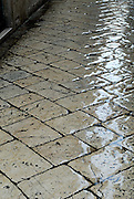 Paved street of Dubrovnik old town after light rain. Dubrovnik old town, Croatia