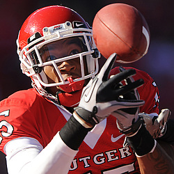 Rutgers wide receiver Keith Stroud makes a fingertip touchdown reception during first half NCAA football action between Rutgers and Tulane at Rutgers Stadium in Piscataway, N.J. on Oct 2, 2010.