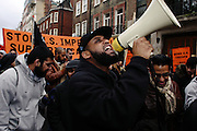 Cataclysm, 27, (centre) is taking part to a demonstration against the US-led invasion of Iraq, on Saturday, Jan. 20, 2007, in central London, England. Islamic Hip Hop artists like the duo 'Blind Alphabetz', from London, feel more than ever the need to say what they think aloud. In the music industry the backlash of a disputable Western foreign policy towards Islamic countries and its people is strong. The number of artists in the European Union and the US taking this into consideration and addressing the current social and political problems within their lyrics is growing rapidly and fostering awareness for Muslim and others alike.