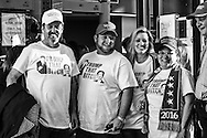 A Donald Trump fans at a campaign rally in Baton Rouge, LA, for Republican presidential candidate Donald Trump, waiting to get in to the venue 5on Feb. 11, 2016.