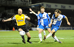 Bristol Rovers' Stuart Sinclair scores against Gateshead - Photo mandatory by-line: Paul Knight/JMP - Mobile: 07966 386802 - 19/12/2014 - SPORT - Football - Bristol - The Memorial Stadium - Bristol Rovers v Gateshead - Vanarama Conference