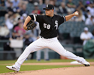 CHICAGO - MAY 30:  Manny Banuekos #58 of the Chicago White Sox pitches against the Cleveland Indians on May 30, 2019 at Guaranteed Rate Field in Chicago, Illinois.  (Photo by Ron Vesely)  Subject:  Manny Banuelos