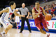 DALLAS, TX - NOVEMBER 25: Jabril Durham #4 of the Arkansas Razorbacks drives to the basket against the SMU Mustangs on November 25, 2014 at Moody Coliseum in Dallas, Texas.  (Photo by Cooper Neill/Getty Images) *** Local Caption *** Jabril Durham