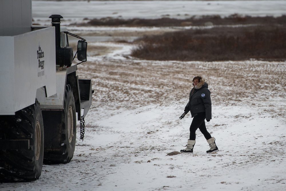 An employee of Tunda Buggy Adventure patrols the area with a shotgun, while others do work on the lodge. In Churchill people learn to coexist with polar bears as pat of their daily lives.  Photo © William Drumm, 2013.