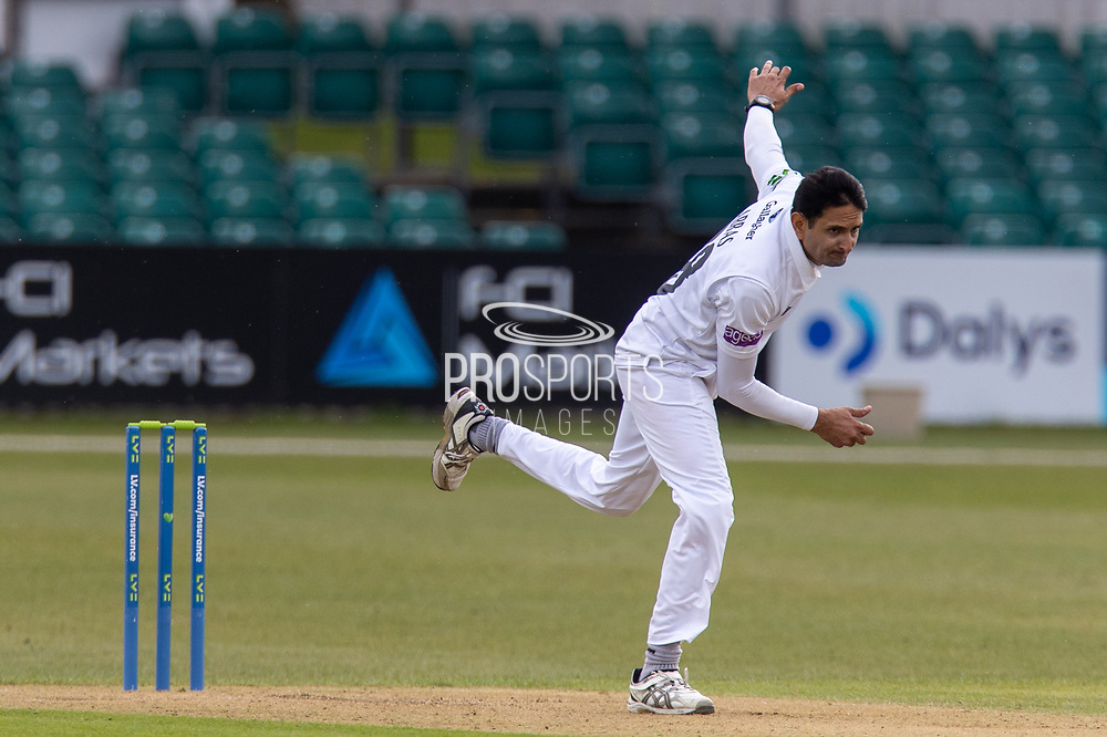 Mohammad Abbas bowling during Day 2 of the LV= Insurance County Championship match between Leicestershire County Cricket Club and Hampshire County Cricket Club at the Uptonsteel County Ground, Leicester, United Kingdom on 9 April 2021.