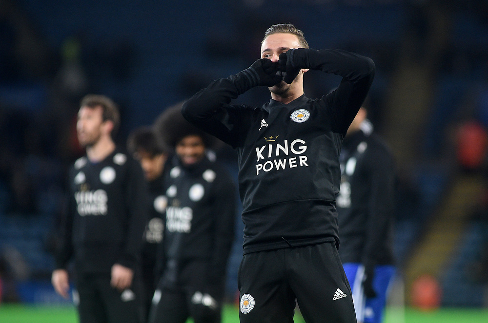 Leicester City's James Maddison during the pre-match warm-up <br /> <br /> Photographer Hannah Fountain/CameraSport<br /> <br /> The Premier League - Leicester City v Tottenham Hotspur - Saturday 8th December 2018 - King Power Stadium - Leicester<br /> <br /> World Copyright © 2018 CameraSport. All rights reserved. 43 Linden Ave. Countesthorpe. Leicester. England. LE8 5PG - Tel: +44 (0) 116 277 4147 - admin@camerasport.com - www.camerasport.com