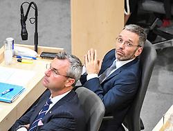 "27.05.2019, Hofburg, Wien, AUT, Sondersitzung des Nationalrates, Sitzung des Nationalrates aufgrund des Misstrauensantrags der Liste JETZT, FPOE und SPOE gegen Bundeskanzler Sebastian Kurz (OeVP) und die Bundesregierung, im Bild v.l. Norbert Hofer (FPÖ), Herbert Kickl (FPÖ) // during special meeting of the National Council of austria due to the topic ""motion of censure against the federal chancellor Sebastian Kurz (OeVP) and the federal government"" at the Hofburg in Wien, Australia on 2019/05/27. EXPA Pictures © 2019, PhotoCredit: EXPA/ Lukas Huter"