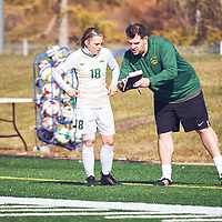 Women's Soccer Assistant Coach, Rob McCaffrey of the Regina Cougars during the Women's Soccer home game on Sun Oct 07 at U of R Field. Credit: Arthur Ward/Arthur Images