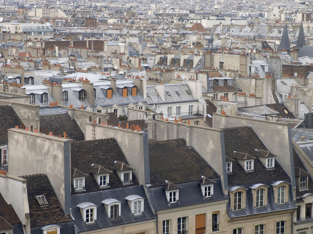 Paris rooftops of houses