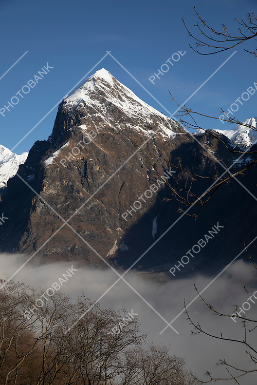 Spectacular view of Swiss mountains in the height of winter