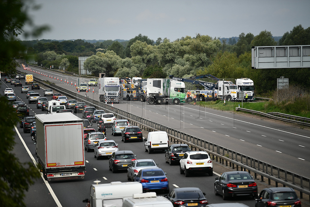 © Licensed to London News Pictures. 26/08/2017. Milton Keynes, UK. is seen on the M1 motorway near Newport Pagnell after a crash involving a minibus and two lorries. Police say that several people are dead and four others have been taken to hospital after the accident on the southbound carriageway in the early hours of this morning. Photo credit: Ben Cawthra/LNP