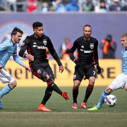 NEW YORK, NEW YORK - March 12:  Sean Franklin #5 of D.C. United is challenged by Alexander Ring #8 of New York City FC during the NYCFC Vs D.C. United regular season MLS game at Yankee Stadium on March 12, 2017 in New York City. (Photo by Tim Clayton/Corbis via Getty Images)