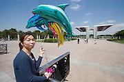 Olympic Park. Peace Gate. Dolphin balloons.