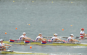 Hamilton, NEW ZEALAND. USA W4X-  Moving away from the start pontoon in their quadruple scull repechage at the 2010 World Rowing Championships, Lake Karapiro. crew bow Margot SHUMWAY, Sarah TROWBRIDGE, Megan KALMOE and Naterlie DELL.  Wednesday - 03.11.2010, [Mandatory Credit Peter Spurrier:Intersport Images].