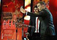 20120227: LISBON, PORTUGAL - SL Benfica 108th anniversary gala at Coliseu dos Recreios in Lisbon, Portugal.<br /> In photo: Pablo Aimar and Ricardo Araujo Pereira.<br /> PHOTO: Alvaro Isidoro/CITYFILES