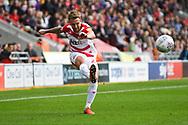 James Coppinger of Doncaster Rovers (26) crosses the ball during the EFL Sky Bet League 1 match between Doncaster Rovers and Gillingham at the Keepmoat Stadium, Doncaster, England on 20 October 2018.