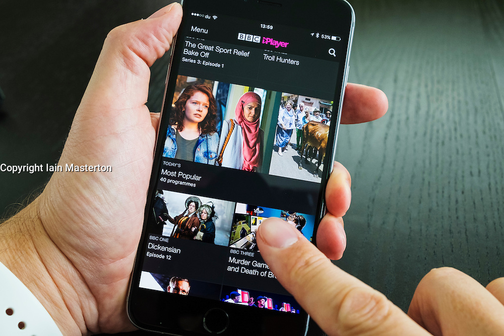 Home screen of BBC iPlayer catchup TV streaming service on iPhone 6 Plus smart phone