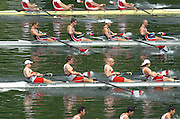 2004 FISA World Cup Regatta Lucerne Switzerland. 18.06.04..Photo Peter Spurrier.CAN and USA move away from the start in the .CAN Bow, Cameron Baerg, 2. Thomas herschmiller, 3. Jake Wetzel and Barny Williams.USA. Bow Jason Read, 2. Daniel Beery, 3. Buea Hoopman and Bryan Volpenhein.  Peter Spurrier Intersport-Images Tel.+44 7973 819 551.Heat men's Four North American contest CAN and USA with Poland at the top of the image. Rowing Course, Lake Rottsee, Lucerne, SWITZERLAND. [Mandatory Credit: Peter Spurrier: Intersport Images]