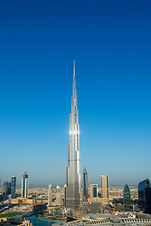 Burj Khalifa and skyline of Downtown Dubai in United Arab Emirates