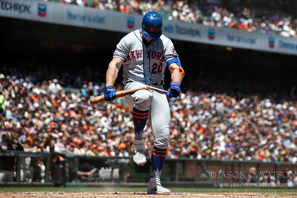 SAN FRANCISCO, CA - JULY 21: Pete Alonso #20 of the New York Mets breaks his bat over his knee after striking out against the San Francisco Giants during the third inning at Oracle Park on July 21, 2019 in San Francisco, California.  (Photo by Jason O. Watson/Getty Images) *** Local Caption *** Pete Alonso