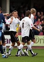 Photo: Mark Stephenson.<br /> Hereford United v Brentford. Coca Cola League 2. 06/10/2007.Hereford's Luke Webb (C) celebrates his goal