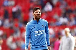 February 23, 2019 - Seville, Madrid, Spain - Lionel Messi (FC Barcelona) seen warming up before the La Liga match between Sevilla FC and Futbol Club Barcelona at Estadio Sanchez Pizjuan in Seville, Spain. (Credit Image: © Manu Reino/SOPA Images via ZUMA Wire)