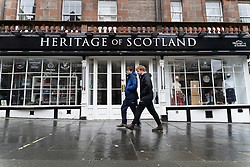 Edinburgh, Scotland, UK. 6 February 2021. The Old town of Edinburgh is almost deserted on a Saturday afternoon during national Covid-19 lockdown. All non essential shops including all tourist souvenir shops are closed as are restaurants and cafes. Pic; Tourist shops on Royal Mile are closed . Iain Masterton/Alamy Live News