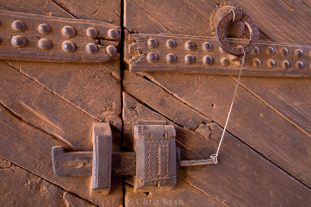 Closeup of wooden door, gateway to fortified city of Ait Benhaddou, Atlas Mountains, Morocco