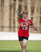 St Paul's School girls varsity Lacrosse with Kimball Union.  ©2015 Karen Bobotas Photographer