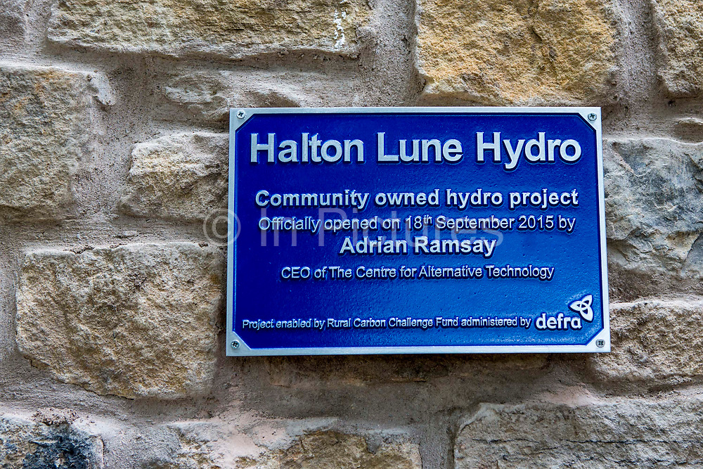 The plaque unveiled by Adrian Ramsey, the Chief Executive of the Centre for Alternative Technologyat the official opening of, Halton Lune Hydro, Halton, Lancashire on the 18th of September 2015.