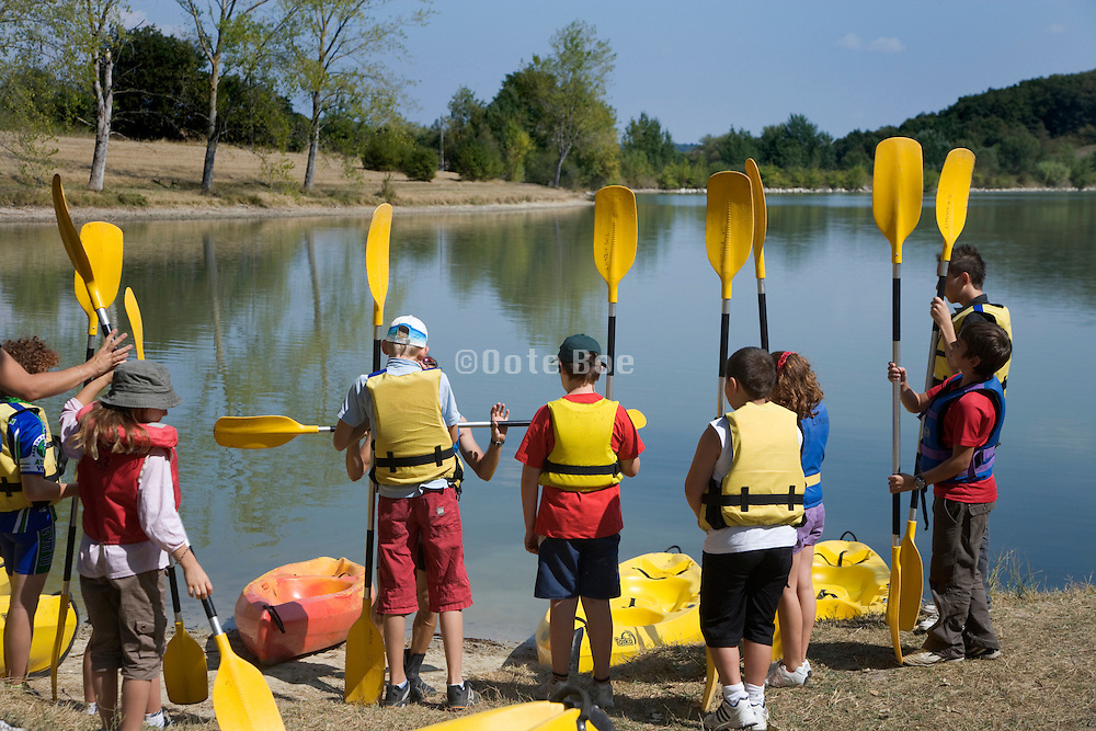 group of teenaged boys during a kayak practice outing
