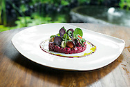 Crispy Red Rice, Cashew Ricotta, Wild Herbs, Smoked Baby Beets, Beetroot Chips, Garlic Chive Oil, Beetroot Reduction * heated dish