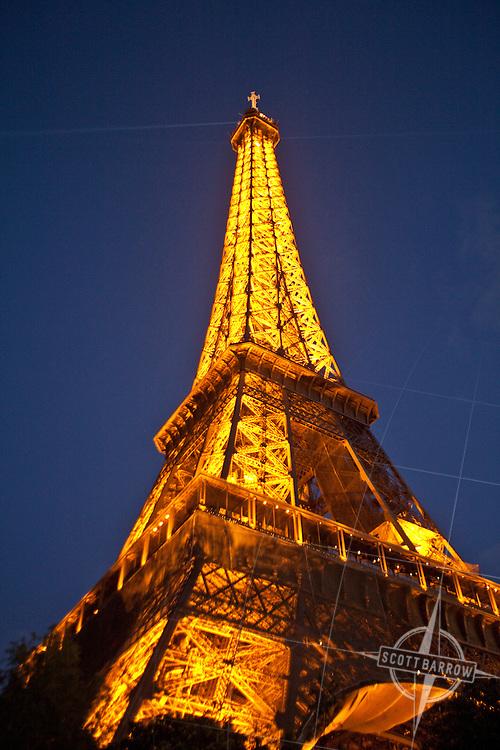 Eiffel Tower at night.  Paris France.