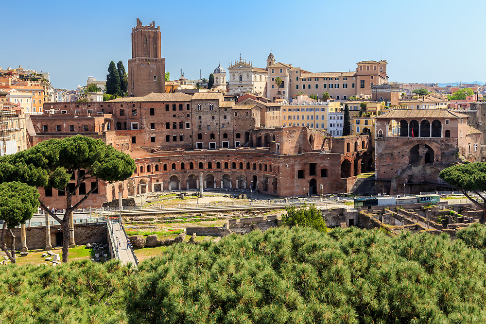 The Trajan's Market in Forum Romanum in Rome, Italy. Trajan's Market is thought to be the world's oldest shopping mall. The shops and apartments were at several levels. One can still admire beautiful marble floors and the remains of a library.