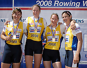 Munich, GERMANY, GBR W4X, Bow Annie VERNON, Debbie FLOOD, Frances HOUGHTON and Katherine GRAINGER, winning the Women's Quadruple Scull, at the FISA World Cup Munich, held on the Olympic Rowing Course, 11/05/2008  [Mandatory Credit Peter Spurrier/ Intersport Images] Rowing Course, Olympic Regatta Rowing Course, Munich, GERMANY