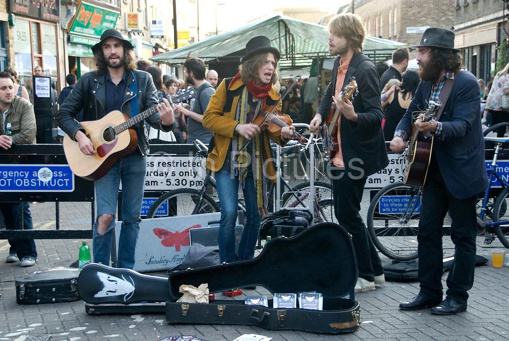 Hackney, London. Broadway market - busking