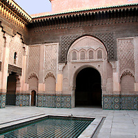 North Africa, Morocco, Marrakesh.  The courtyard at the Ben Youssef Madrassa in Marrakesh.
