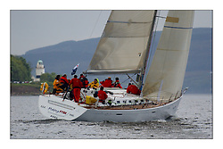 Yachting- The first days racing  of the Bell Lawrie Scottish series 2003 at Gourock.  The wet start looks set to last for the overnight race to Tarbert...Jonathan Anderson's, First 47.7, Playing FSTE,  Class 1..Pics Marc Turner / PFM