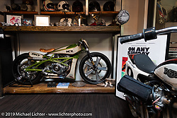 Bikes and collectables upstairs at Roland Sands Design (RSD) retail and office location, Los Alamitos, CA. Monday June 25, 2018. Photography ©2018 Michael Lichter.