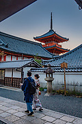 """Three-storied Koyasu Pagoda. Kiyomizu-dera (""""Pure Water Temple"""") is an independent Buddhist temple in eastern Kyoto, Japan. Otowa-san Kiyomizu-dera temple is part of the Historic Monuments of Ancient Kyoto (Kyoto, Uji and Otsu Cities) UNESCO World Heritage site. Kiyomizu-dera was founded on the site of the Otowa Waterfall in the early Heian period, in 780 by Sakanoue no Tamuramaro. Ordered by Tokugawa Iemitsu, its present buildings were built entirely without nails in 1633."""