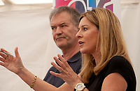 Television and radio presenter Andrea Catherwood and David Goodhart at the 'Truth Matters: Media in an Age of Fake News' discussion at the Dalkey Book Festival, Dalkey, County Dublin, Ireland, Saturday 17th June 2017. Photo credit: Doreen Kennedy