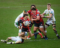 Rugby Union - 2020 / 2021 Gallagher Premiership - Gloucester vs Northampton Saints - Kingsholm<br /> <br /> Gloucester's Lloyd Evans is tackled by Northampton Saints' Rory Hutchinson.<br /> <br /> COLORSPORT/ASHLEY WESTERN