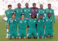 Fotball<br /> VM 2006<br /> Foto: Dppi/Digitalsport<br /> NORWAY ONLY<br /> <br /> FOOTBALL - WORLD CUP 2006 - STAGE 1 - GROUP H - TUNISIA v SAUDI ARABIA - 14/06/2006 - SAUDI ARABIA TEAM (BACK ROW LEFT TO RIGHT : HUSSEIN SULIMANI / REDHA TUKAR / SAUD KHARIRI / MABROUK ZAID / OMAR AL GHAMDI / MOHAMMED NOOR. FRONT ROW : YASSER AL KAHTANI / NAWAF AL TEMYAT / AHMED DOKHI / KHALED AZIZ / HAMAD AL MONTASHARI)<br /> Lagbilde