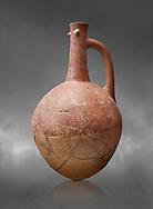 Hittite pottery jug with raised eyes from Hittite capital Hattusa, Hittite  Middle  Kingdom 1650-1450 BC, Bogazkale archaeological Museum, Turkey. Grey  background
