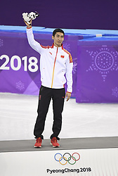 PYEONGCHANG, Feb. 22, 2018  Wu Dajing of China celebrates during venue ceremony of men's 500m event of short track speed skating at the 2018 PyeongChang Winter Olympic Games at Gangneung Ice Arena, Gangneung, South Korea, Feb. 22, 2018. Wu Dajing claimed gold medal in a time of 0:39.584 and set new world record. (Credit Image: © Wang Song/Xinhua via ZUMA Wire)